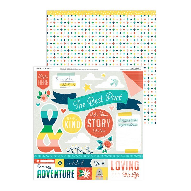 """SO MUCH HAPPY paper pack Cut-Apart Sheet up close. A sheet you can """"fussy-cut"""" around the embellishments or use the reverse side as bonus patterned paper."""
